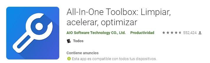 Apps acelerador para teléfono móvil All In One