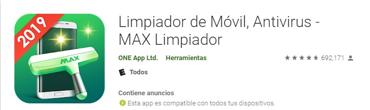Apps max limpiador para acelerar teléfono móvil