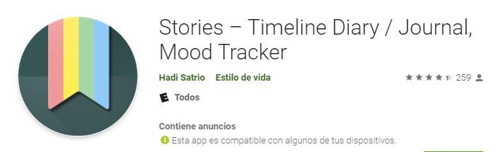 Aplicaciones para hacer líneas de tiempo Stories Timeline Diary