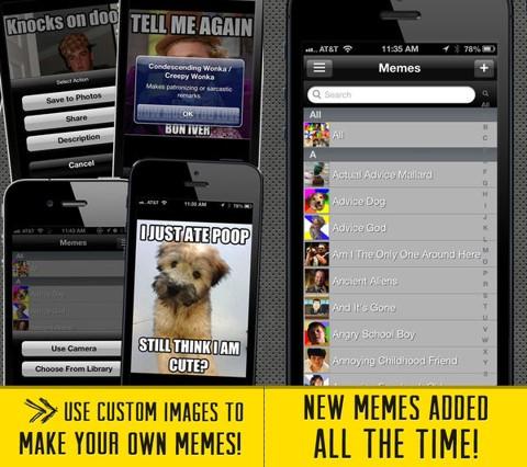 gráficos de describen la app meme factory