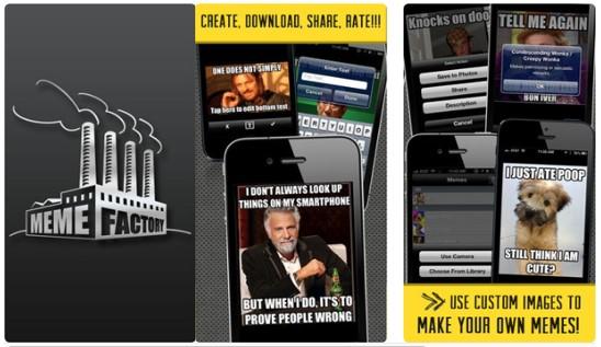 gráficos publicitarios de la app meme factory