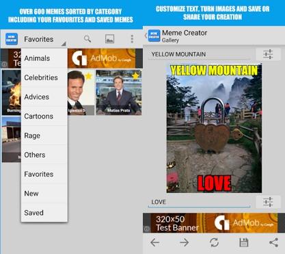 interfaz de la aplicación meme creator