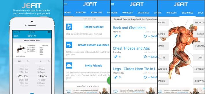 interfaz de la app jefit