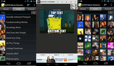 interfaz de la app meme generator free