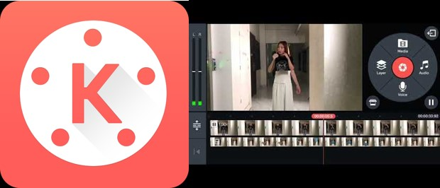 logo e interfaz de kinemaster en aplicaciones para vídeos