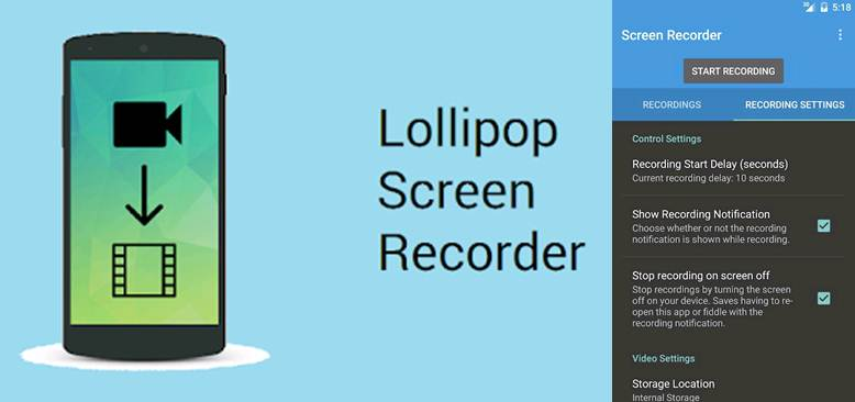 logo e interfaz de la app lollipop screen recorder
