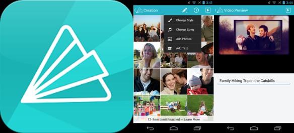 logo y capturas de animoto video maker app
