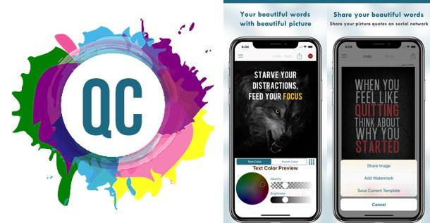 logo y herramientas de la app quotes creator