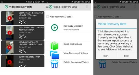 opciones de interfaz video recovery beta