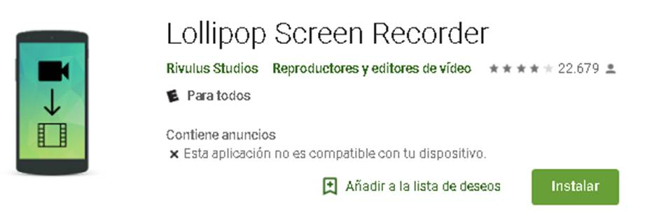 cómo descargar lollipop screen recorder
