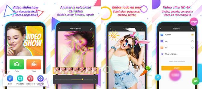 características de la app hacer videos de fotos y musica