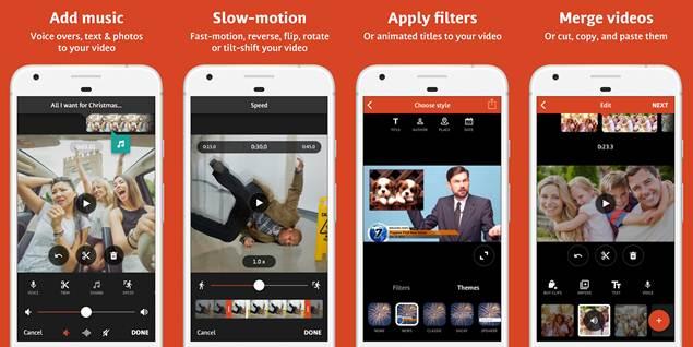 características de la app para grabar vídeos con efectos videoshop