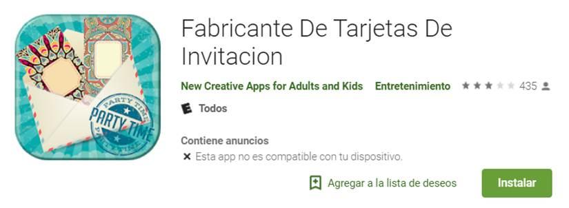 descargar la app fabricante de tarjetas de invitación