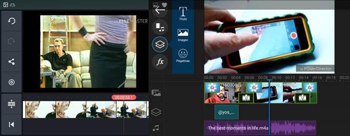 interfaz de apps para grabar vídeos con efectos