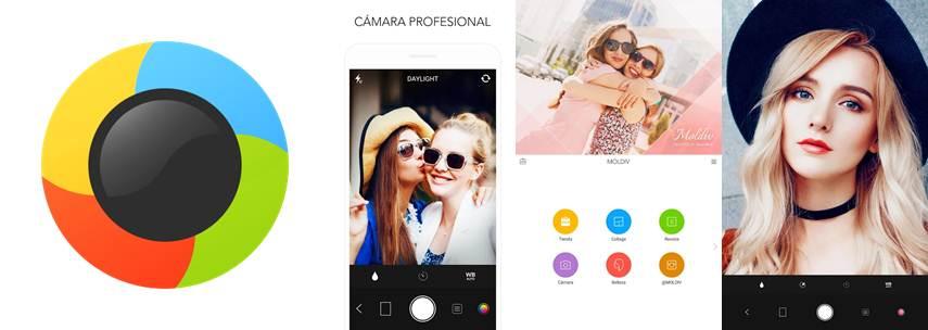 logo características y publicidades de la app moldiv