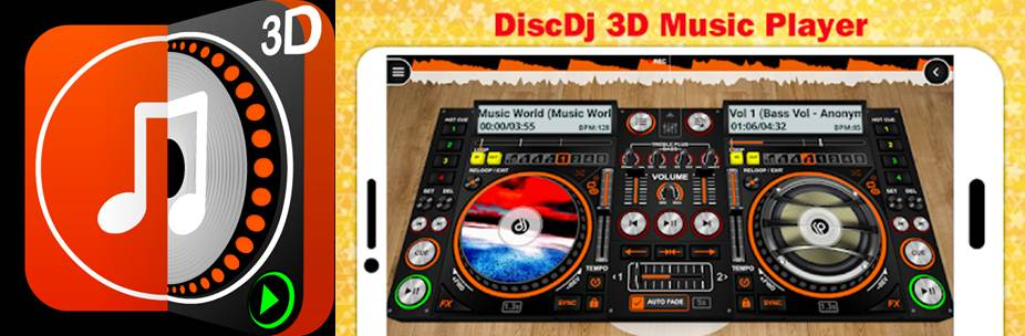 logo e interfaz 3d de la app discdj 3d music player