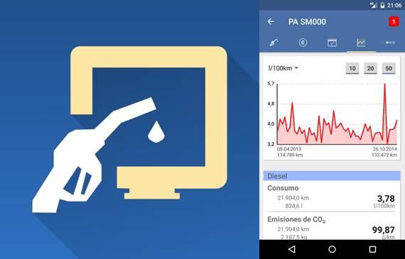 logo y gráficas de consumo en la app