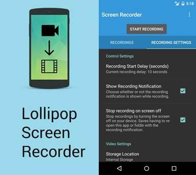 logo y opciones de grabación lollipop screen recorder