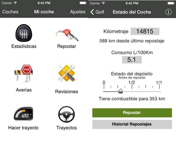 opciones y configuración de la app mi coche