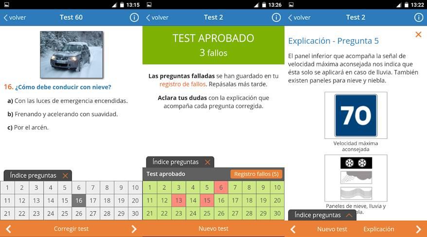 preguntas fallos y explicación en la app todo test