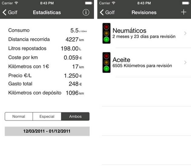 reportes de consumo y revisiones en la app