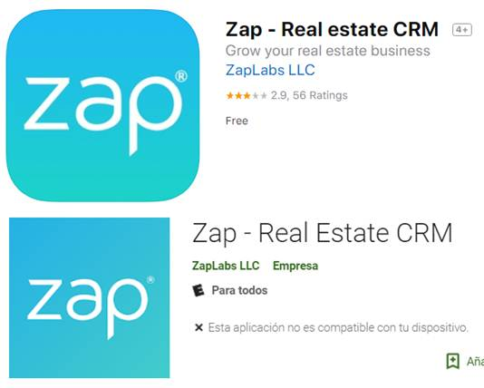 zap - real estate crm en google play y app store