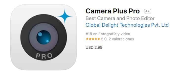 descargar camera plus pro en app store