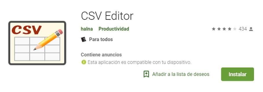 descargar csv editor