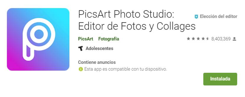 descargar picsart en google play store