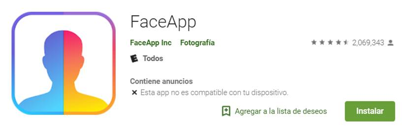faceapp en google play store