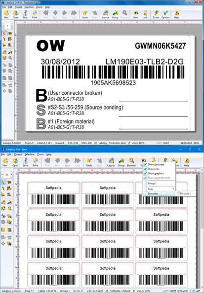 herramientas accesibles al descargar labeljoy
