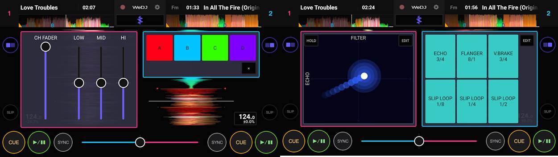 herramientas de la app wedj para mezclas