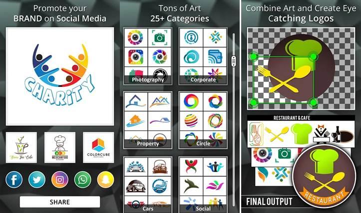 herramientas de trabajo en la aplicación para hacer logos