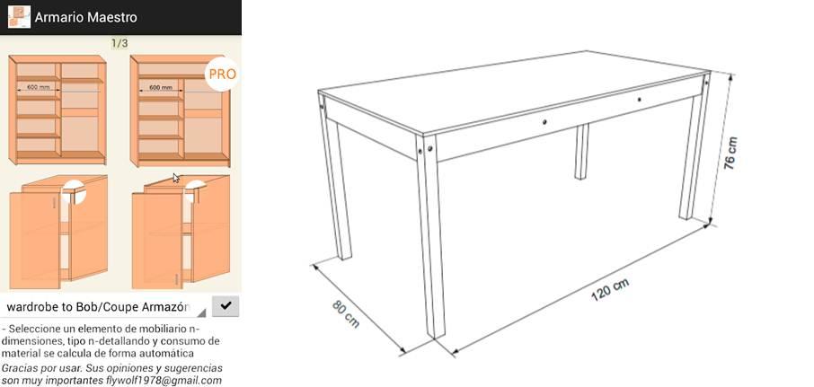 intefaz de la aplicación y plano de una mesa