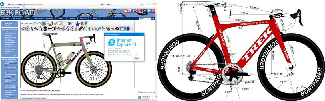 interfaz de bikecad y diseño de ejemplo