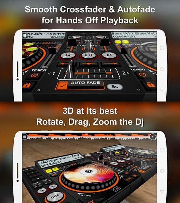 interfaz de la aplicación discdj 3d music player