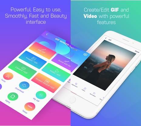 interfaz de la app creador de gif