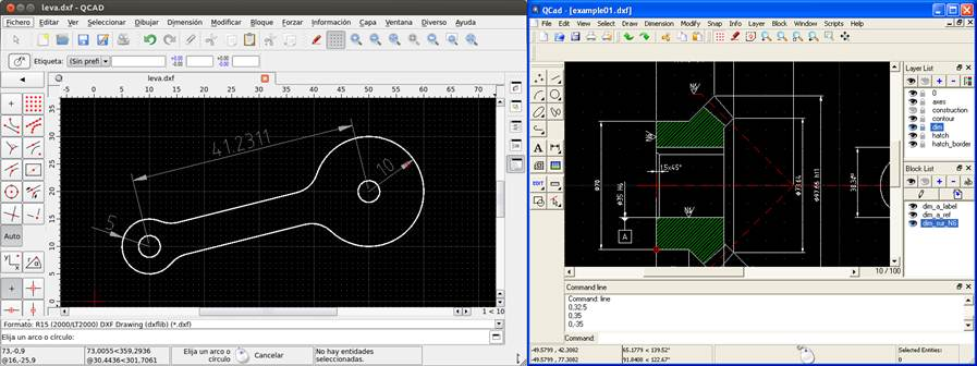 interfaz de usuario en dos versiones de qcad