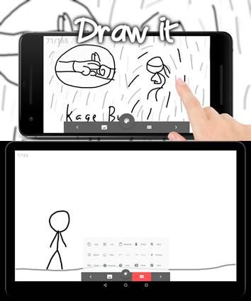 interfaz y ejemplo de dibujo en stickdraw