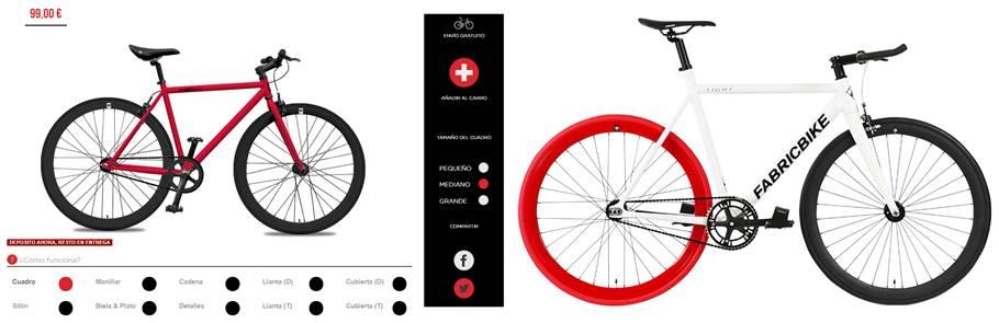 interfaz y ejemplo de diseño con fabricbike