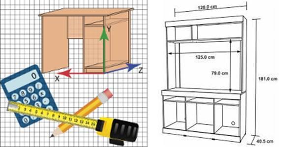 logo de caja creador y plano de mueble