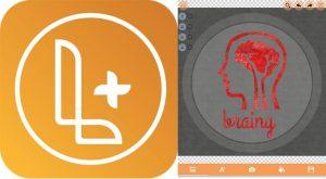 logo de logo maker plus y ejemplo de diseño en la app