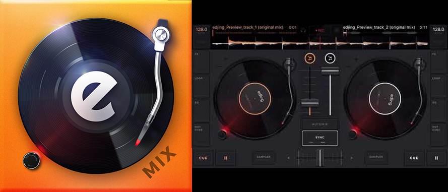 logo e interfaz de edjing mix música dj mezclador