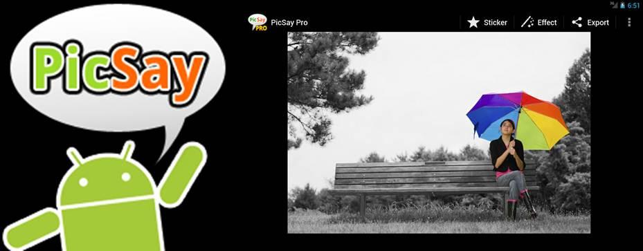 logo picsay pro y logo android y efecto desaturación selectiva en la app