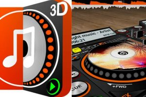 logo y botones 3d en discdj 3d music player