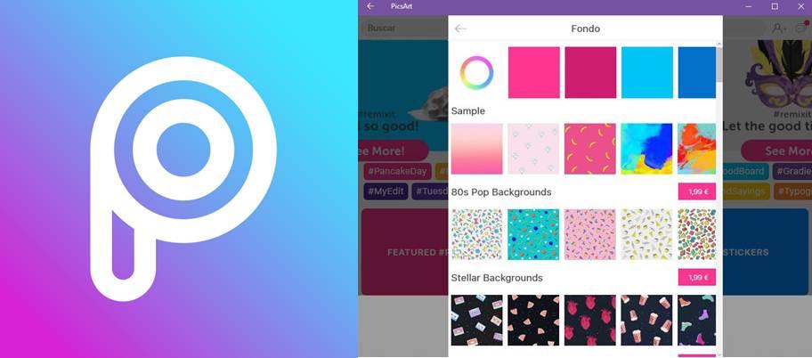 logo y herramientas de fondo de la app picsart