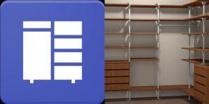 logo y maqueta de closet con la app closet planner 3d