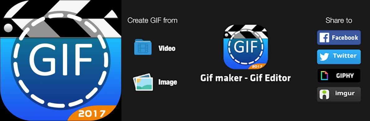 logo y opciones de la aplicacion para hacer gif gif maker - editor de gif