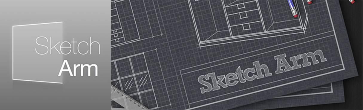 logo y publicidad de la app sketch arm