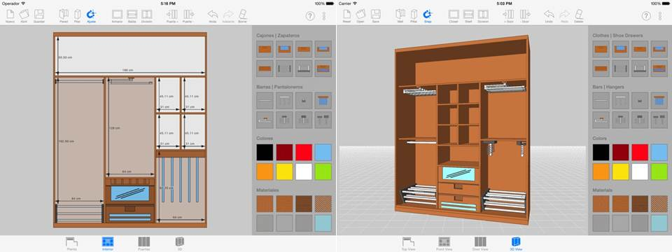 maqueta en 3d y herramientas de la aplicación